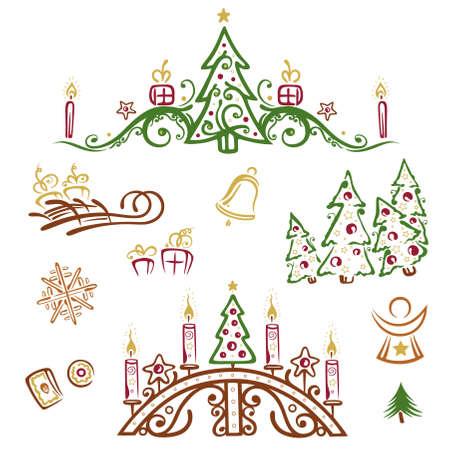 Colorful christmas vector set, christmas trees Stock Vector - 22437870