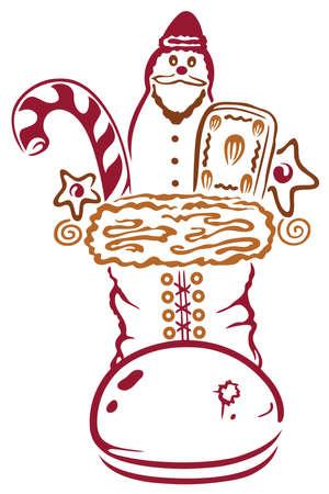 botas de navidad: Botas de navidad de colores con dulces, pap� noel