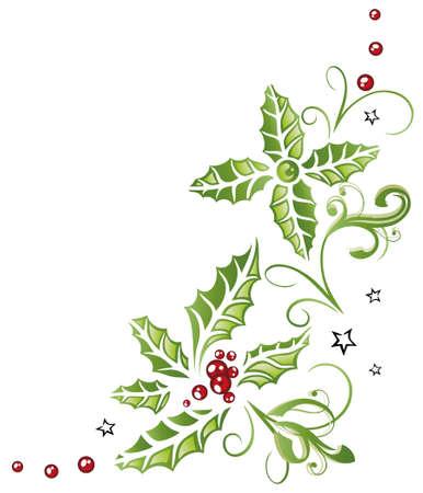 Bunte Weihnachtsdekoration, Stechpalme und Beeren Lizenzfreie Bilder - 22437880