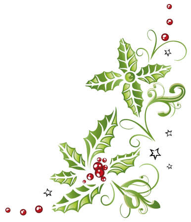 holly berry: Colorful christmas decoration, holly and berries