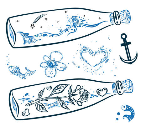 maritime: Colorful maritime vector set, anchor and bottles Illustration