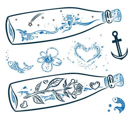 maritimo: Colorido conjunto de vectores mar�tima, ancla y botellas