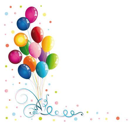 globos de cumplea�os: Decoraci�n de carnaval colorido, con globos y serpentinas Vectores