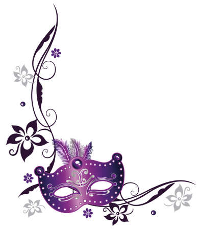Bunte Karnevalsdekoration, mit Blumen und Maske Illustration