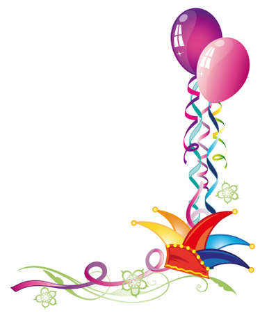 Colorful carnival decoration, with balloons and streamers Stock Vector - 22598355