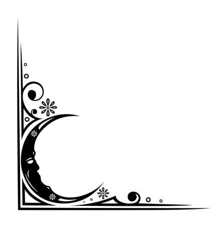 Abstrakt und filigrane Grenze mit Mond Illustration