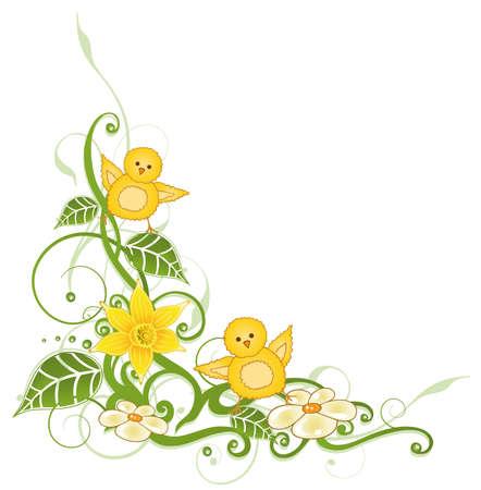 pollitos: Zarcillo de Pascua coloridos con las hojas y los polluelos de Pascua Vectores