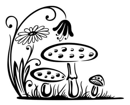 Pilze mit Blumen, Herbstwiese