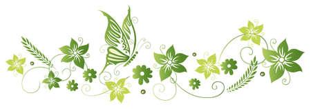 Bunte grüne Ranke mit Blumen und Schmetterling, Frühling