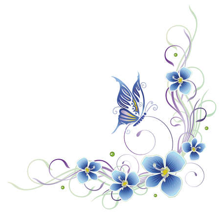 filigree: Colorful summer tendril with butterfly, pastel