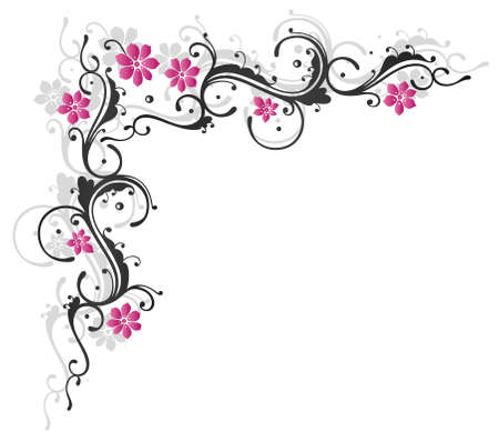 pink swirl: Abstract black and pink tendril with flowers and leaves