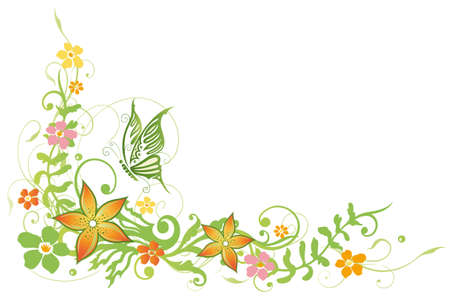 summer border: Colorful tendril with flowers and butterfly, summer time