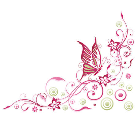 Abstrakt Ranke in grün und rosa, floralen Element