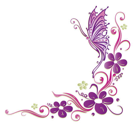butterfly border: Colorful tendril in purple and green, floral element