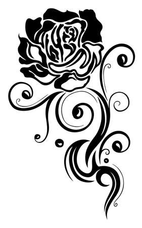 rose tattoo: Filigree and abstract black rose, tattoo style