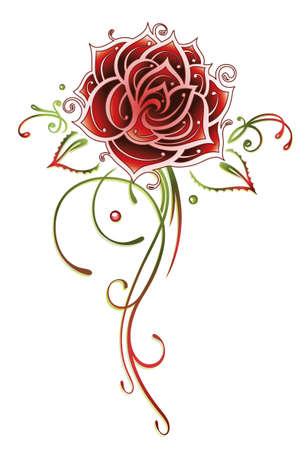casamento: Filigrana e abstrato rosa vermelha, estilo do tatuagem