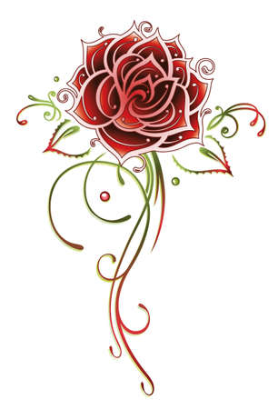 Filigree and abstract red rose, tattoo style Illustration