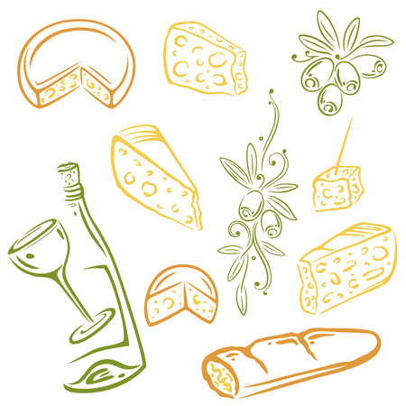 goat cheese: Cheese, wine and olives, colorful vector set