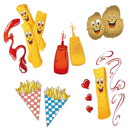 Potatoes and french fries, vector set