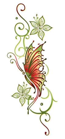 Grüne und orange, Blumen mit Schmetterling