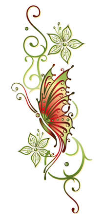 Green and orange, flowers with butterfly Vector