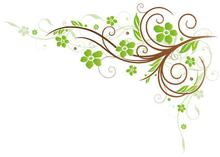 brown swirl: Colorful tendril, green and brown flowers Illustration