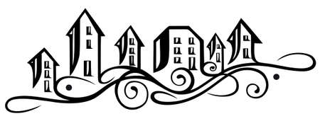city live: Houses silhouette, abstract vector illustration