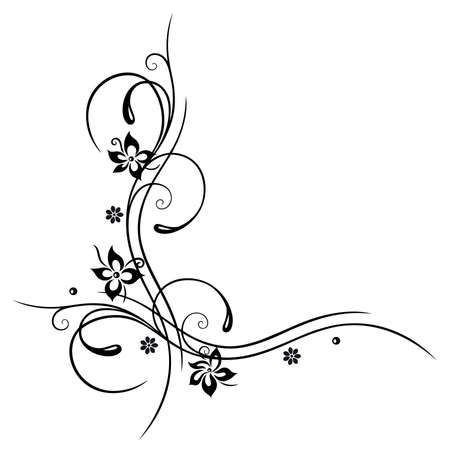 Black flowers illustration, floral element