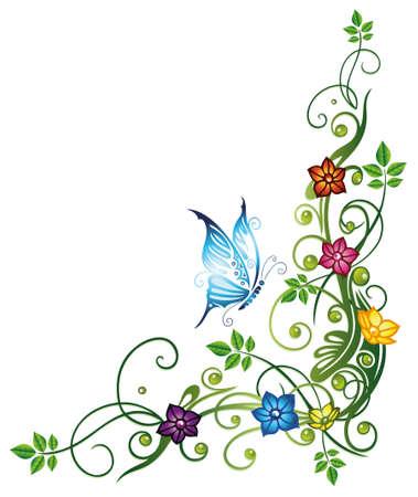 Blätter mit bunten Blüten und Schmetterling