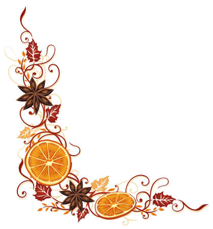 star anise: Autumn border with orange and leaves