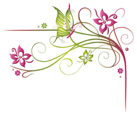 Pink and green tendril with flowers and butterfly Illustration