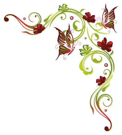 green butterfly: Red and green border, floral element
