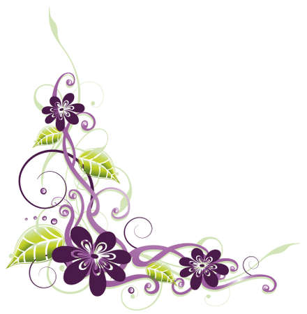 Purple and filigree flowers, floral element Vector