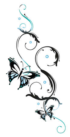 tendrils: Blue flowers and butterflies, floral element Illustration