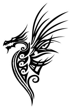 Fantasy dragon, illustration, tattoo style  Vector