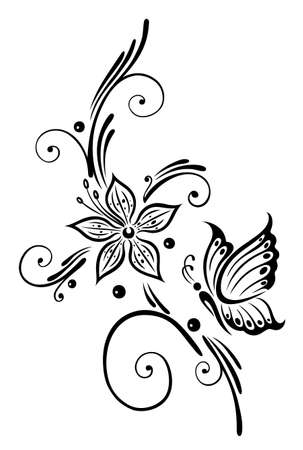 Black flowers with butterfly, tribal art Illustration