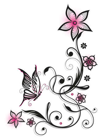 tendril: Pink and black flowers with butterfly, summer time