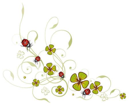 sylvester: Sylvester border, clover with ladybugs