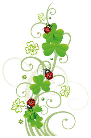 Sylvester tendril, clover with ladybugs Vector