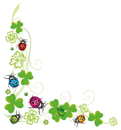 Sylvester decoration, clover with colorful ladybugs Illustration