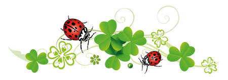 lucky charm: Sylvester tendril, clover with ladybugs Illustration