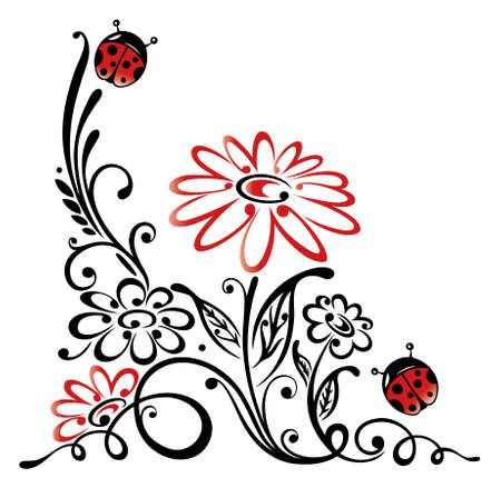 Colorful floral element, meadow and ladybugs Illustration