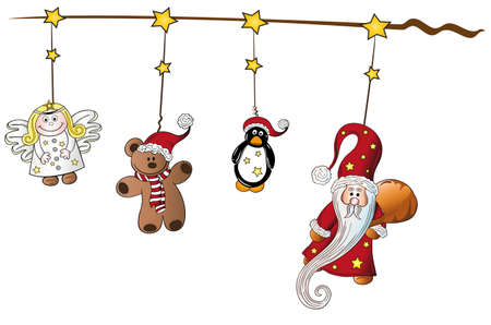 christmas angel: Christmas decoration with santa claus and angel