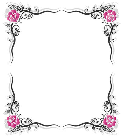 Roses decoration, filigree leaves, frame