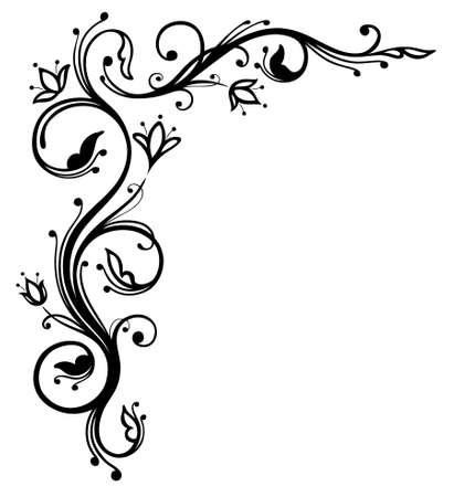 Filigree and abstract black flowers, border Illustration