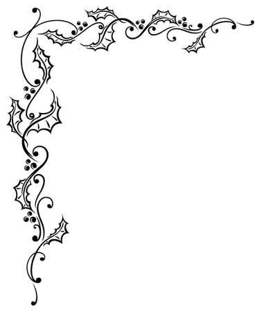 tendrils: Christmas tendril, filigree holly, border Illustration