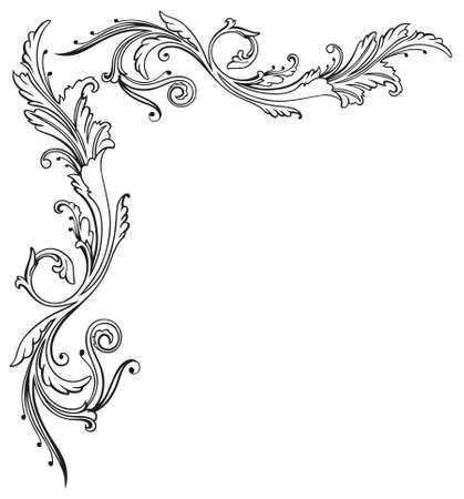 grens: Vintage rank, bloemen en filigraangrens