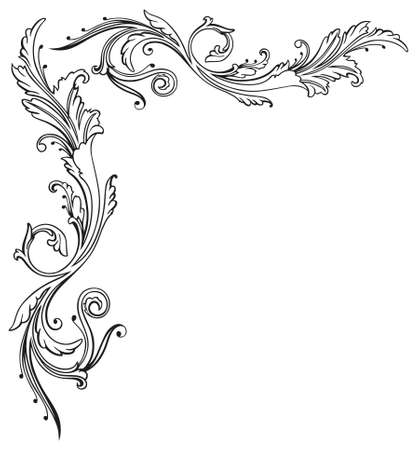 Vintage tendril, floral and filigree border