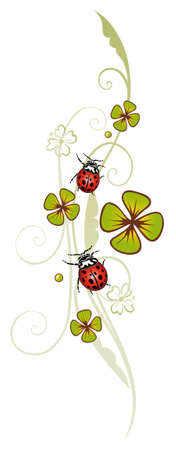 sylvester: Sylvester tendril, clover with ladybugs Illustration