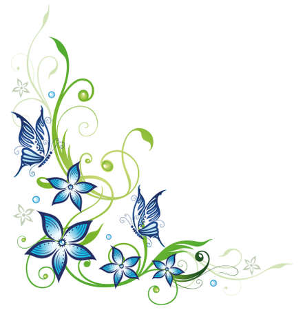 Blue flowers and butterflies, floral element Illustration